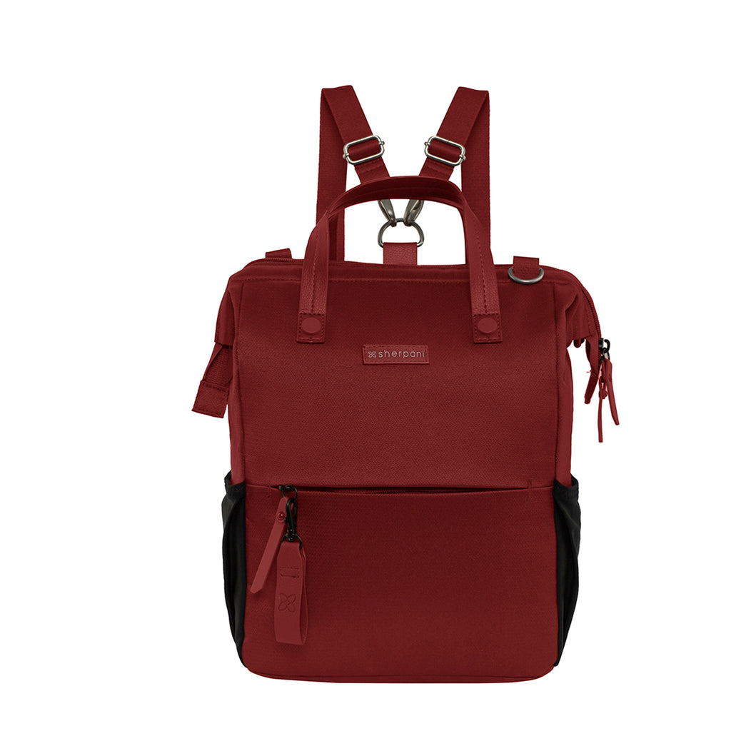 Red Handbag/Crossbody/Backpack (front view) made with recycled materials