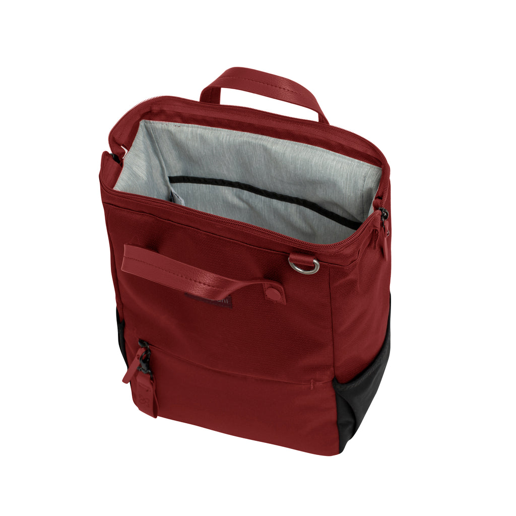 Red Handbag/Crossbody/Backpack (interior main zipper compartment) made with recycled materials