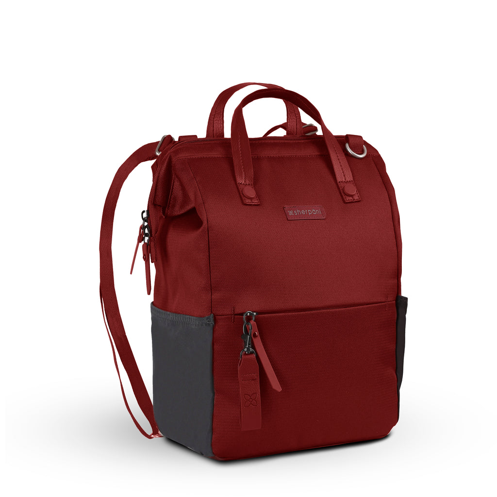 Red Handbag/Crossbody/Backpack (3/4 Side) made with recycled materials