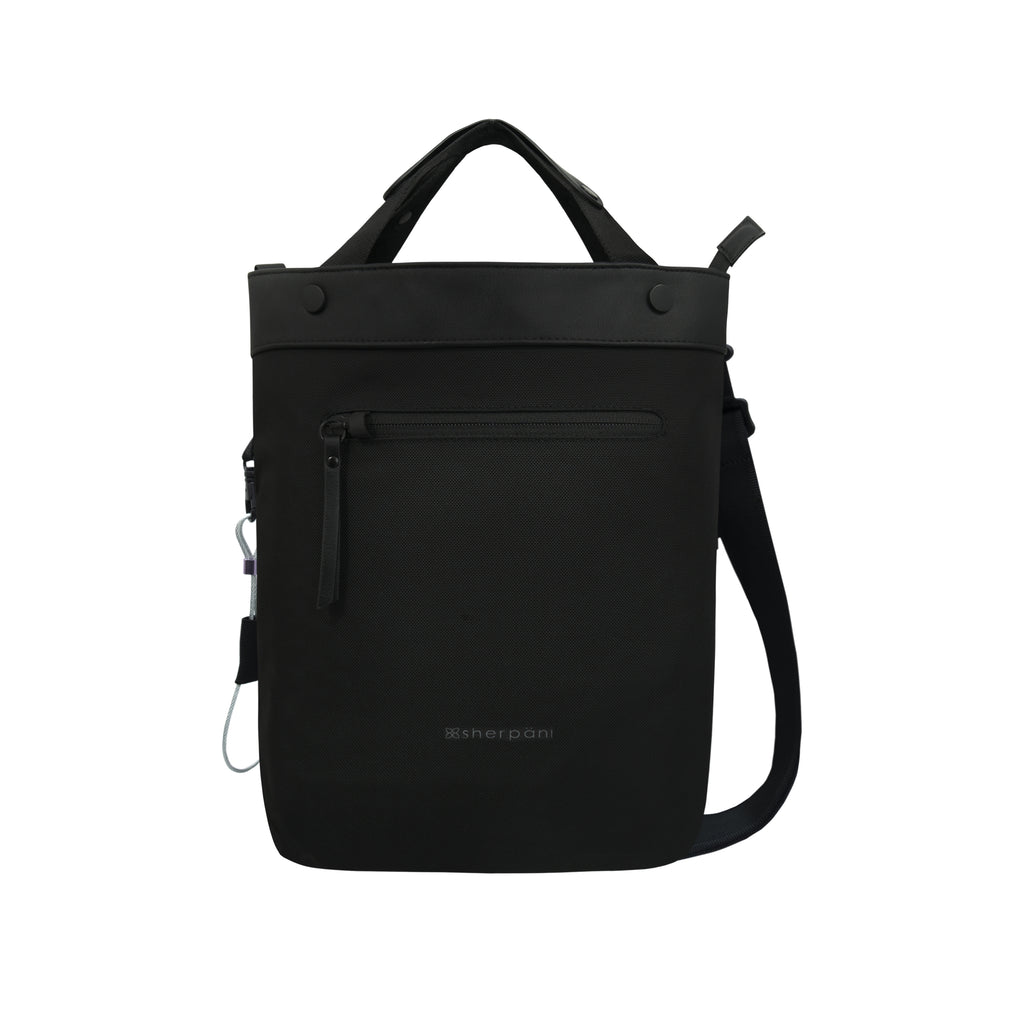 Black Anti-theft Crossbody/Tote (front view) with anti-theft features