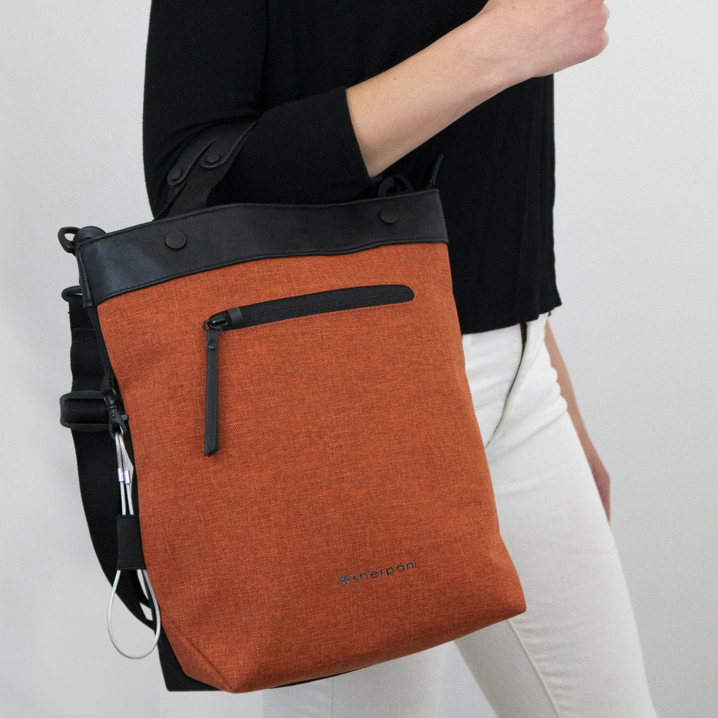 Orange Anti-theft Crossbody/Tote (worn as tote) with anti-theft features