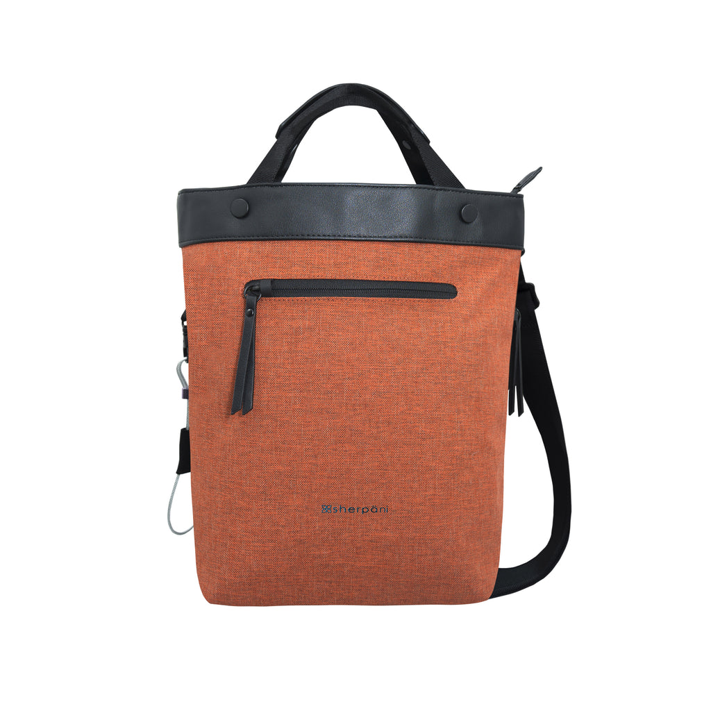 Orange Anti-theft Crossbody/Tote (front view) with anti-theft features