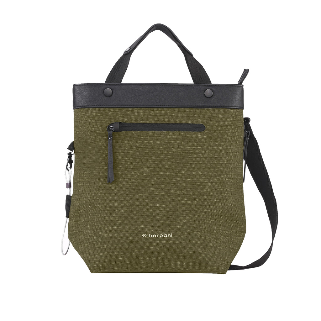 Green Anti-theft Crossbody/Tote (front view) with anti-theft features
