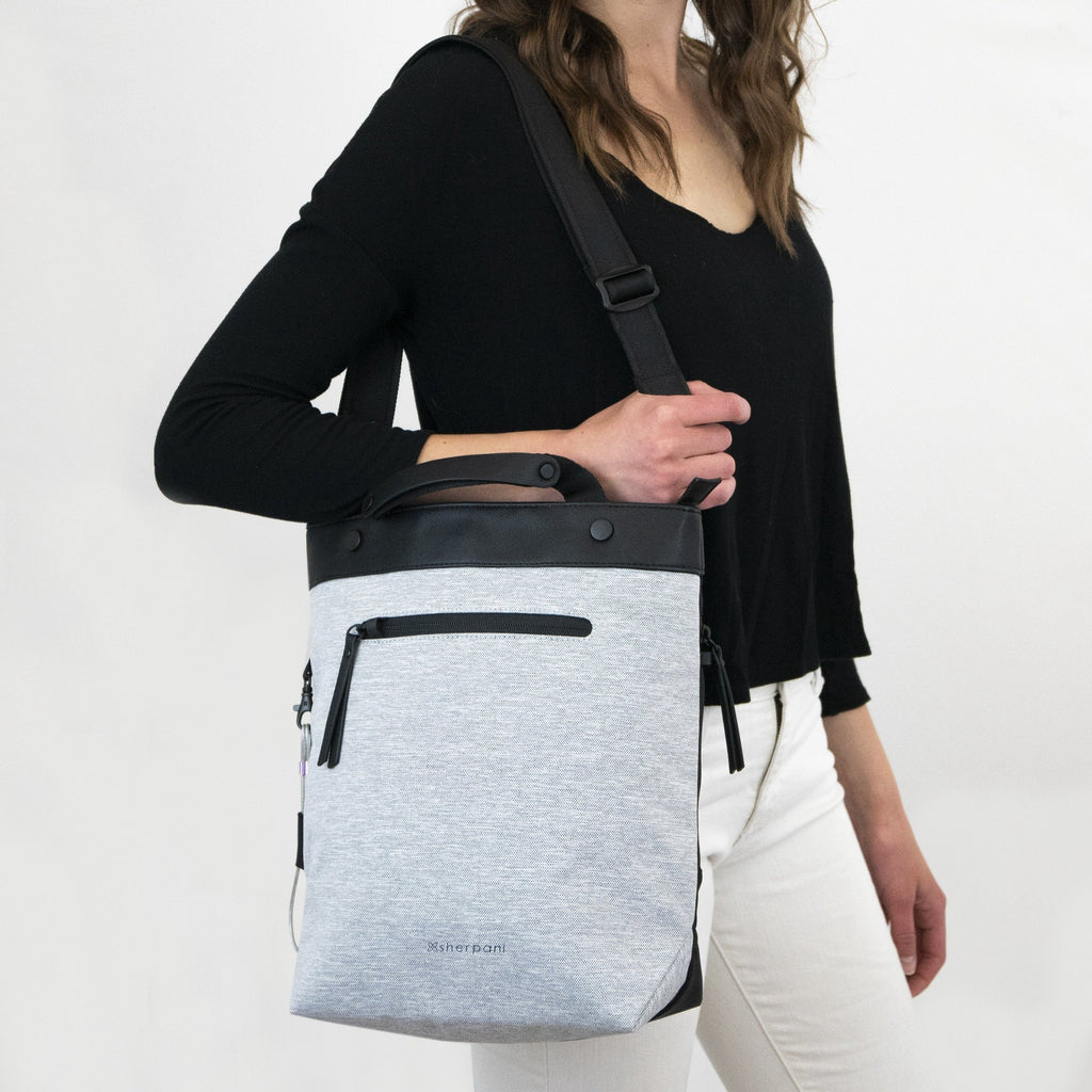 White Anti-theft Crossbody/Tote (worn as shoulder bag) with anti-theft features