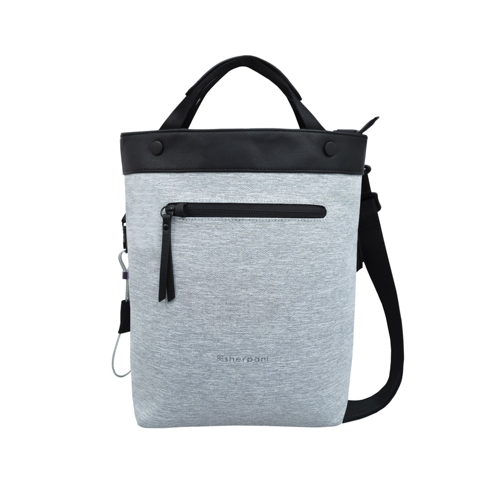 White Anti-theft Crossbody/Tote (front view) with anti-theft features