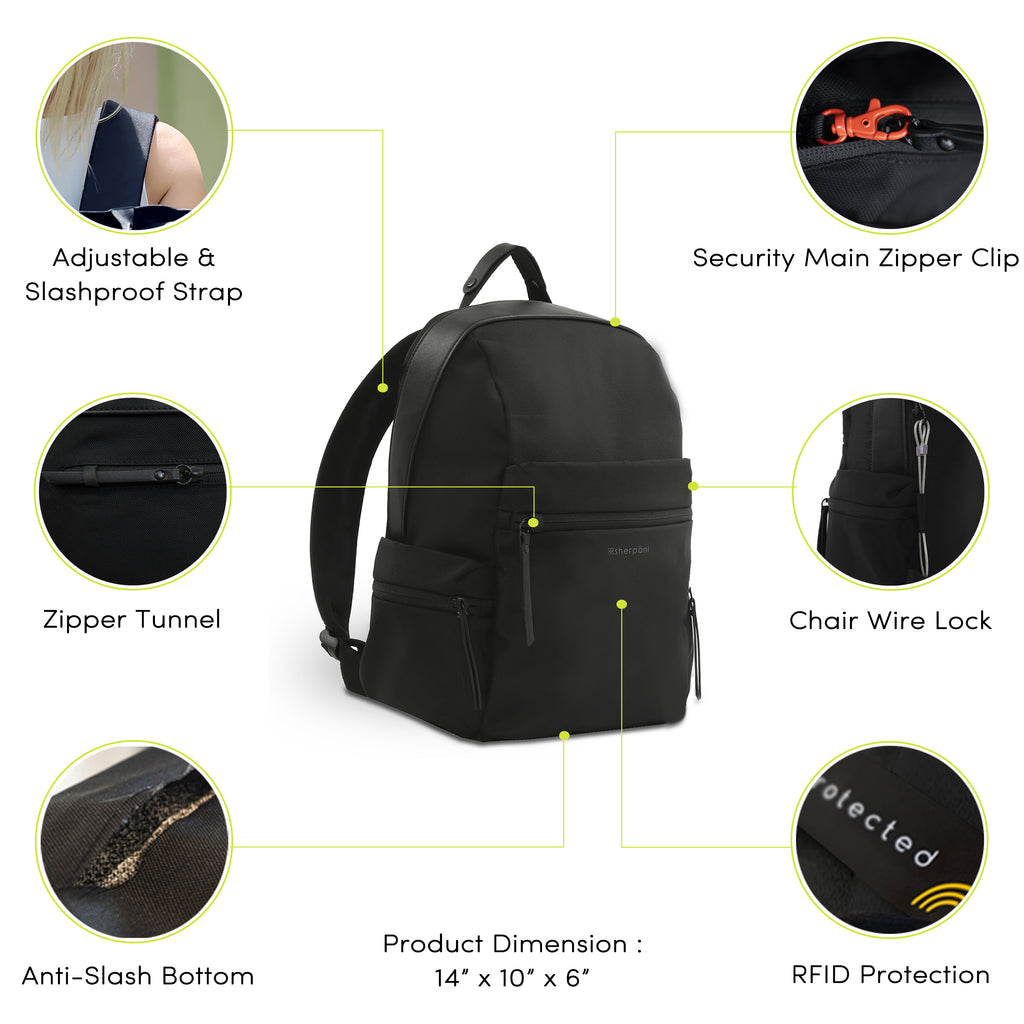 Green Anti-theft Backpack (features) with anti-theft features