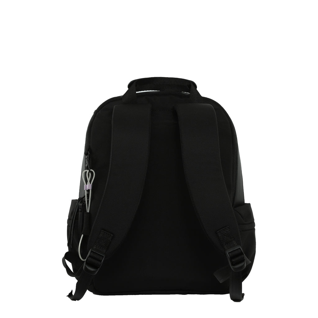 White Anti-theft Backpack (back view) with anti-theft features