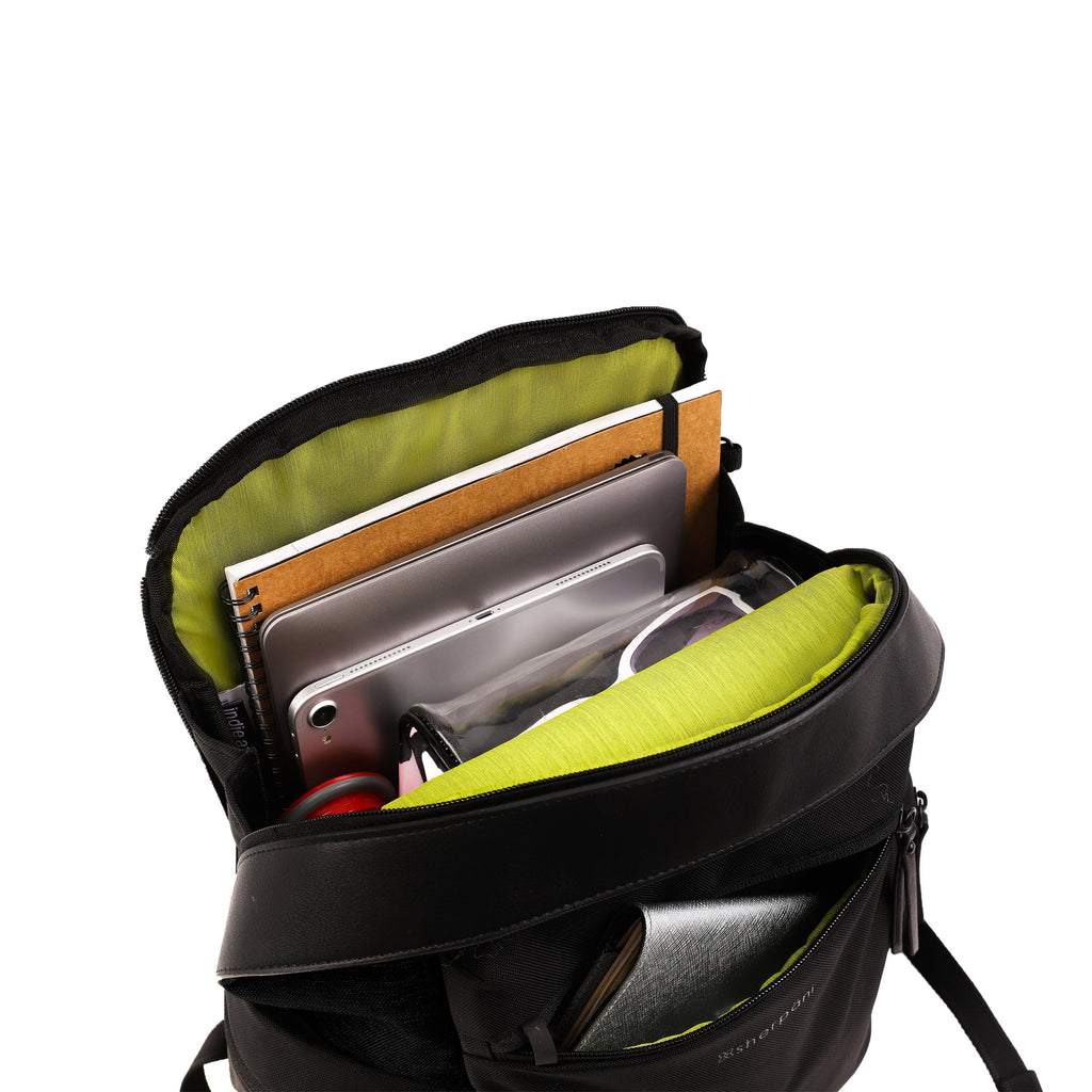 Green Anti-theft Backpack (interior main zipper compartment) with anti-theft features