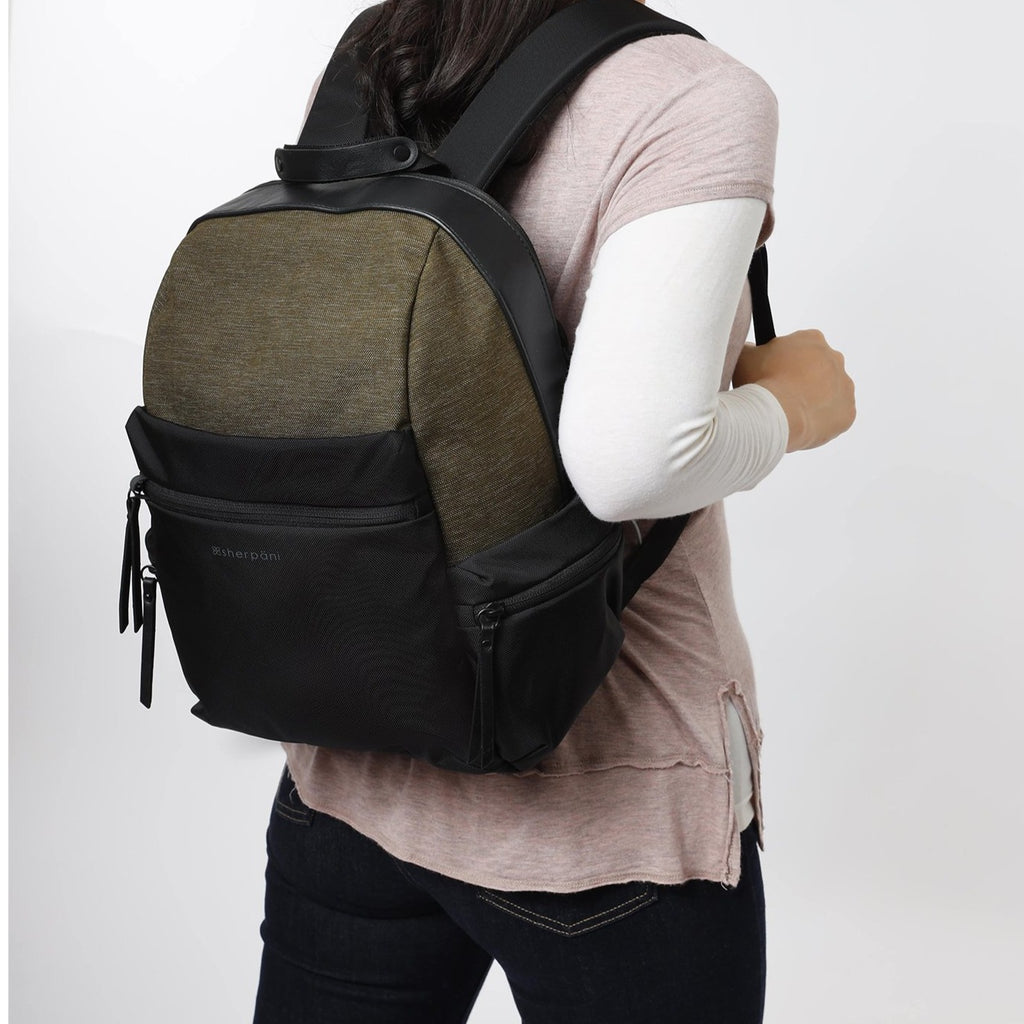 Green Anti-theft Backpack (as backpack) with anti-theft features