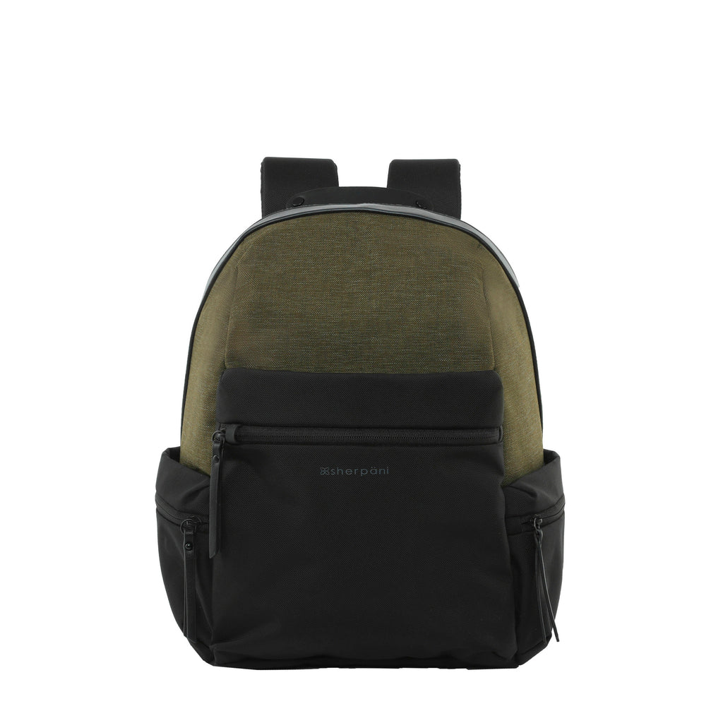 Green Anti-theft Backpack (front view) with anti-theft features