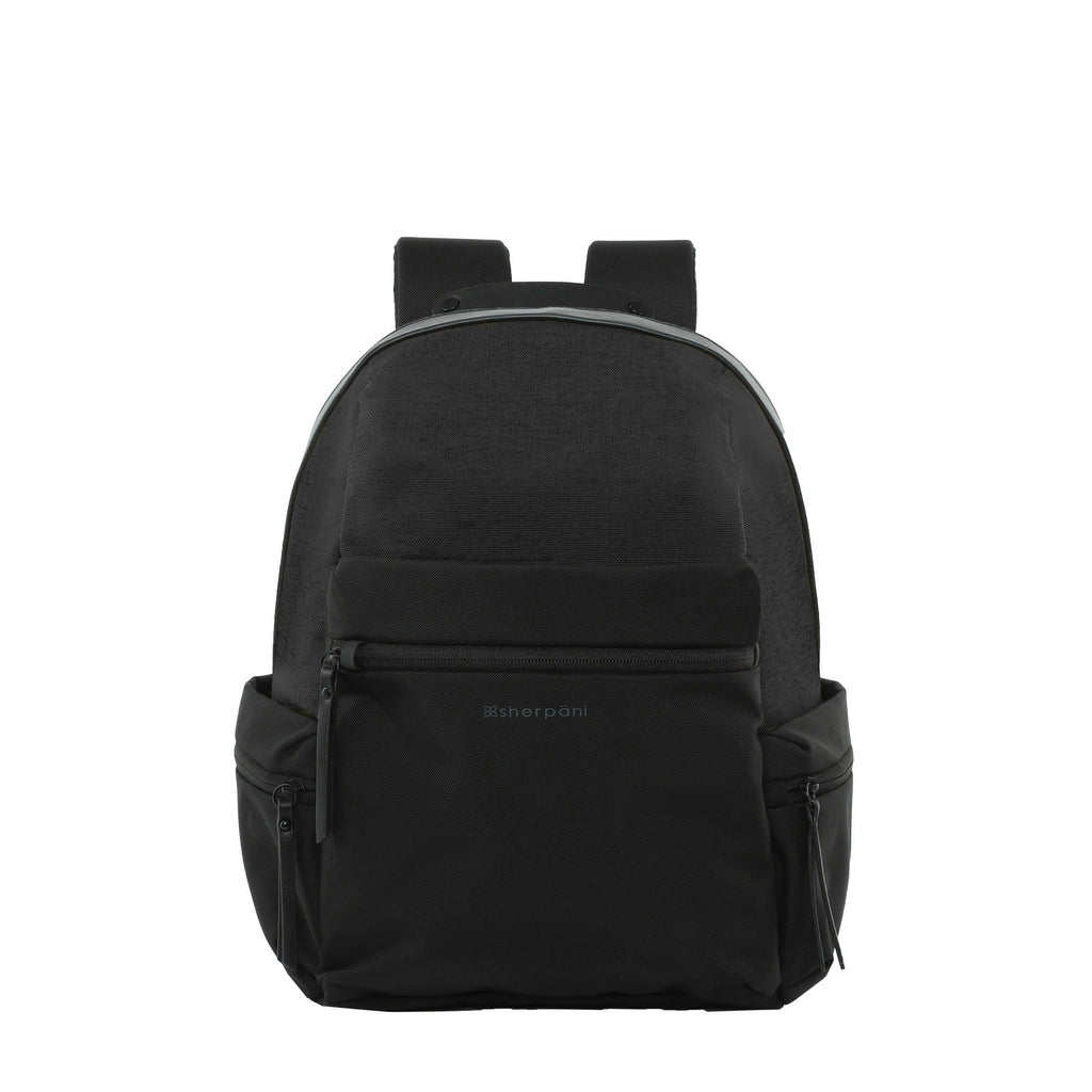 Black Anti-theft Backpack (front view) with anti-theft features