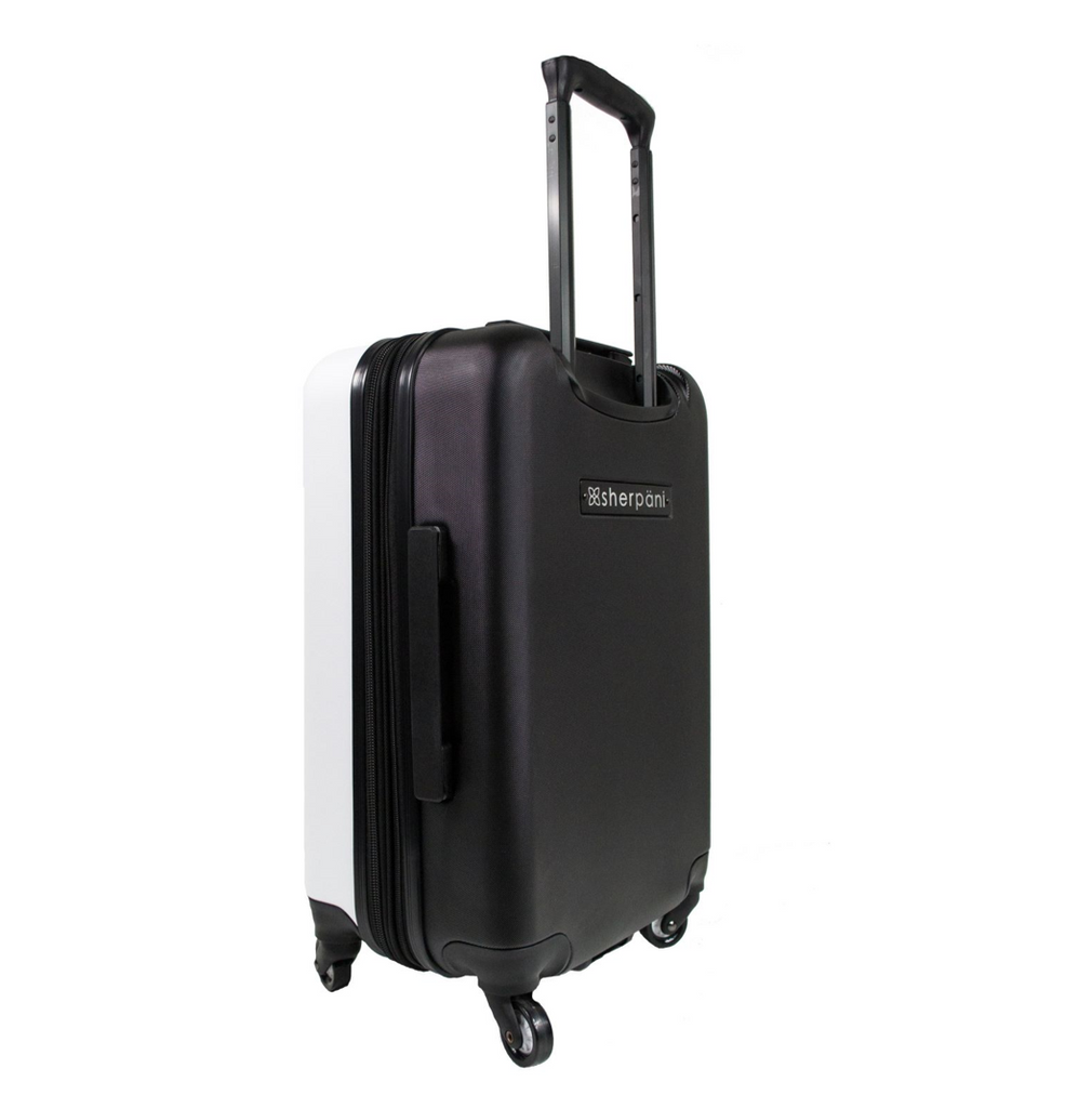 White Crushproof Carryon Luggage ( 3/4 view) made with ultra lightweight materials