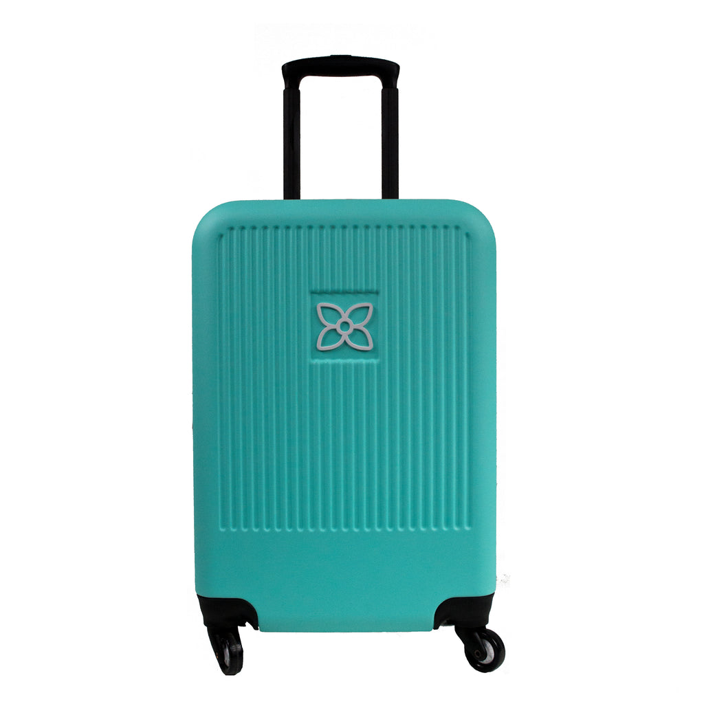 Blue Crushproof Carryon Luggage (front view) made with ultra lightweight materials