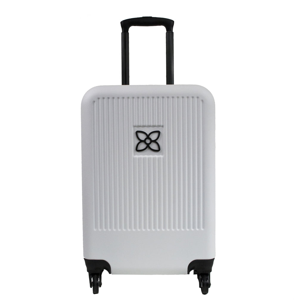 White Crushproof Carryon Luggage (front view) made with ultra lightweight materials