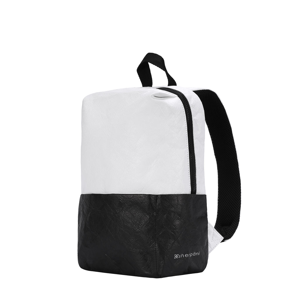Mia Backpack (Side) in Tyvek Collection (Black/White)