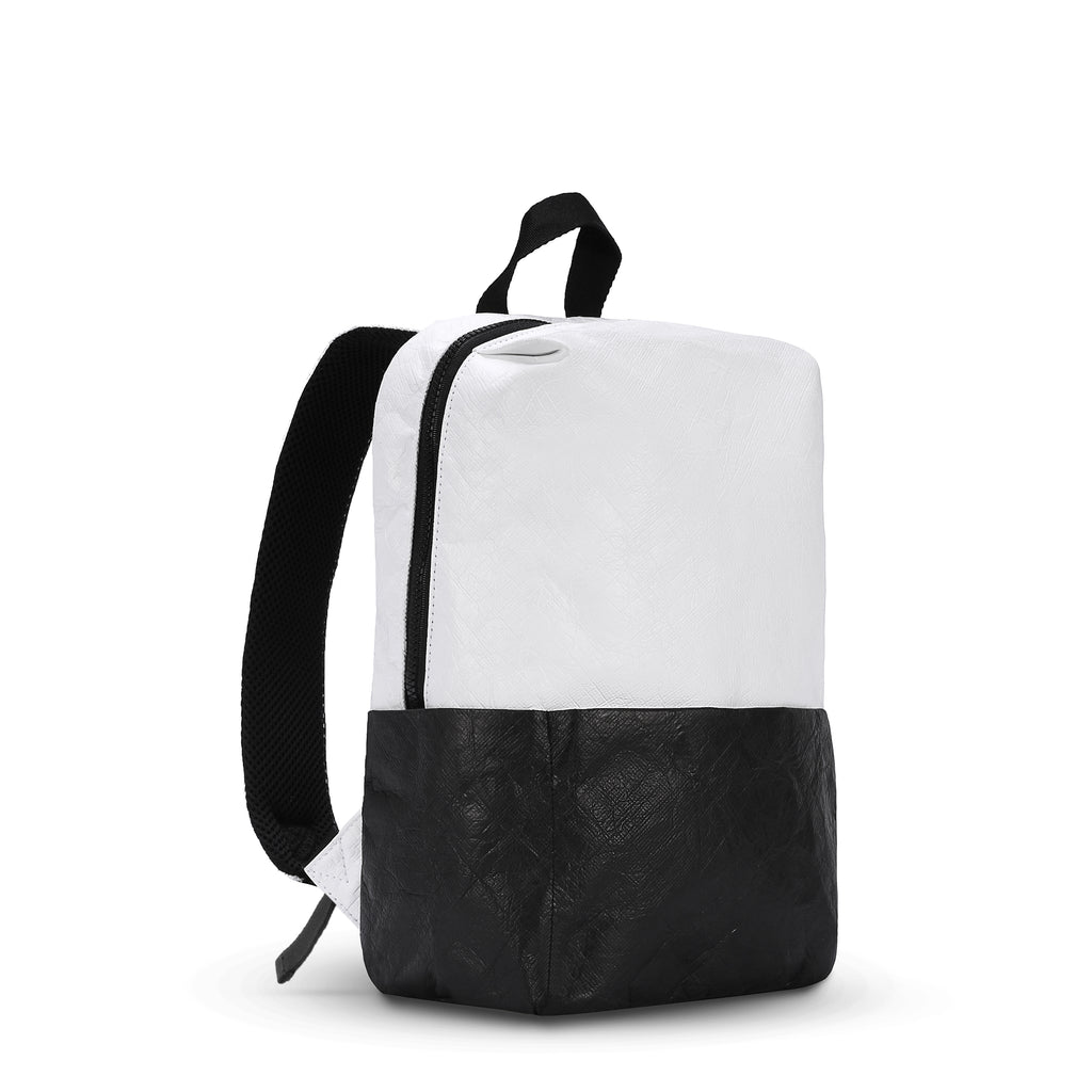 Black & White Backpack (3/4 Side) made with tyvek fabric