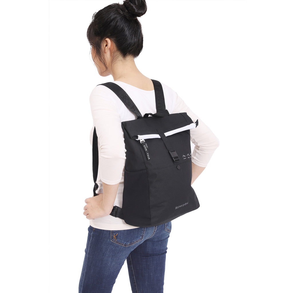 Black Backpack  (as backpack) made with recycled materials