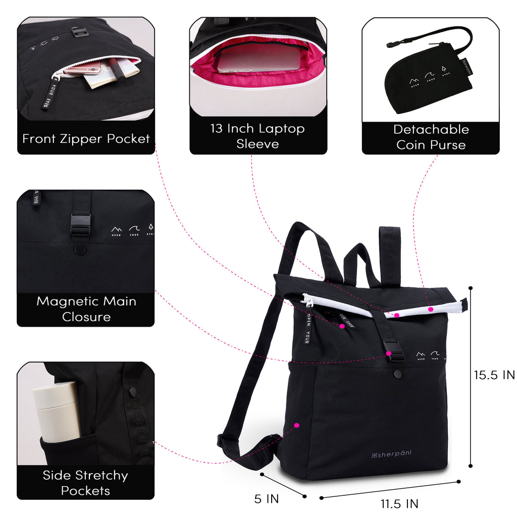 Black Backpack  (dimensions and features ) made with recycled materials