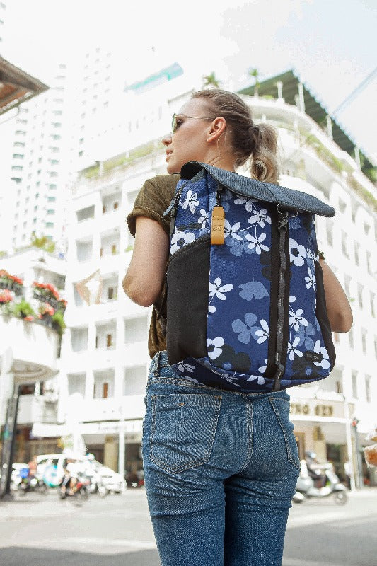 Pace Backpack (On model) in Essentials Collection (Aloha Blue)