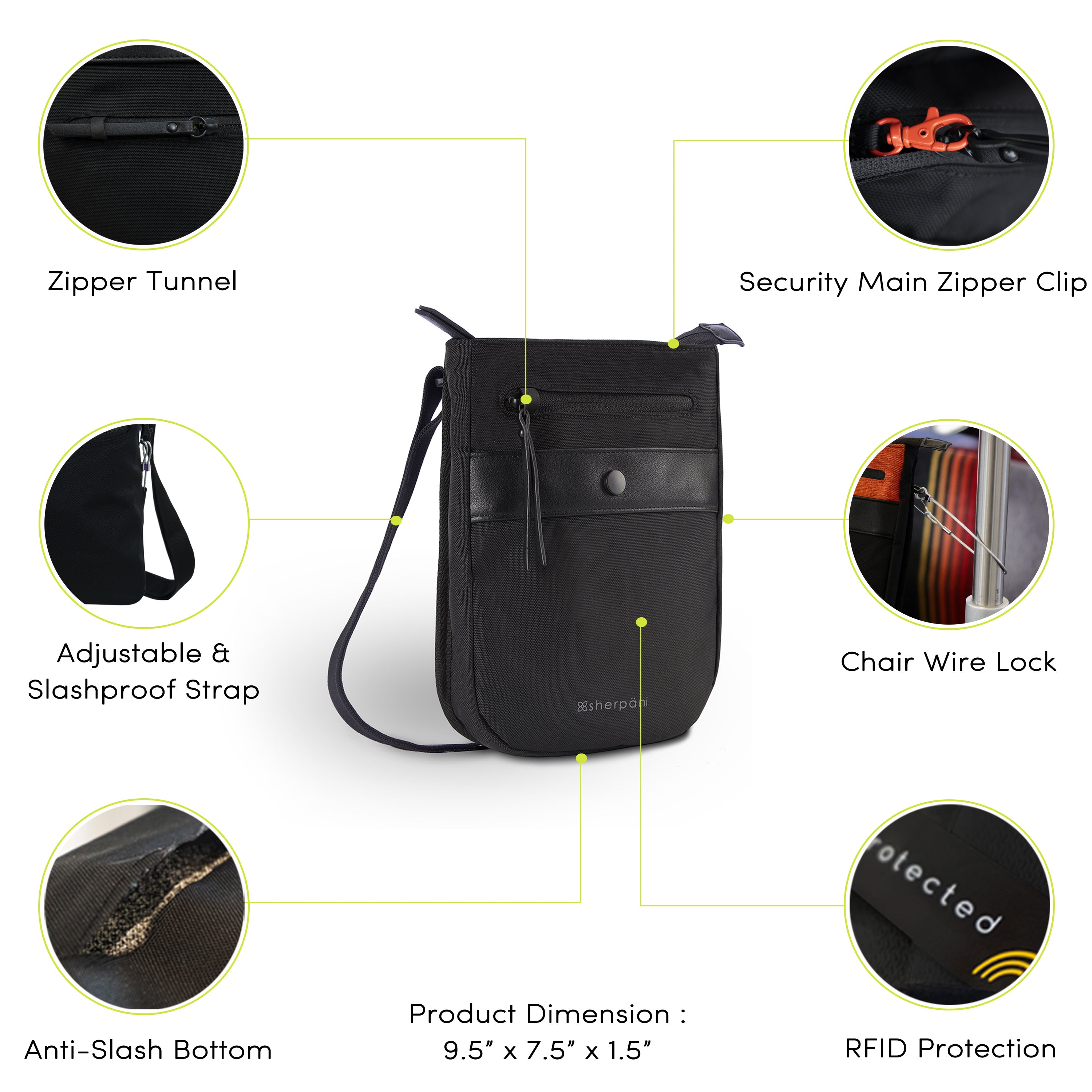 White Anti-theft Crossbody with anti-theft features