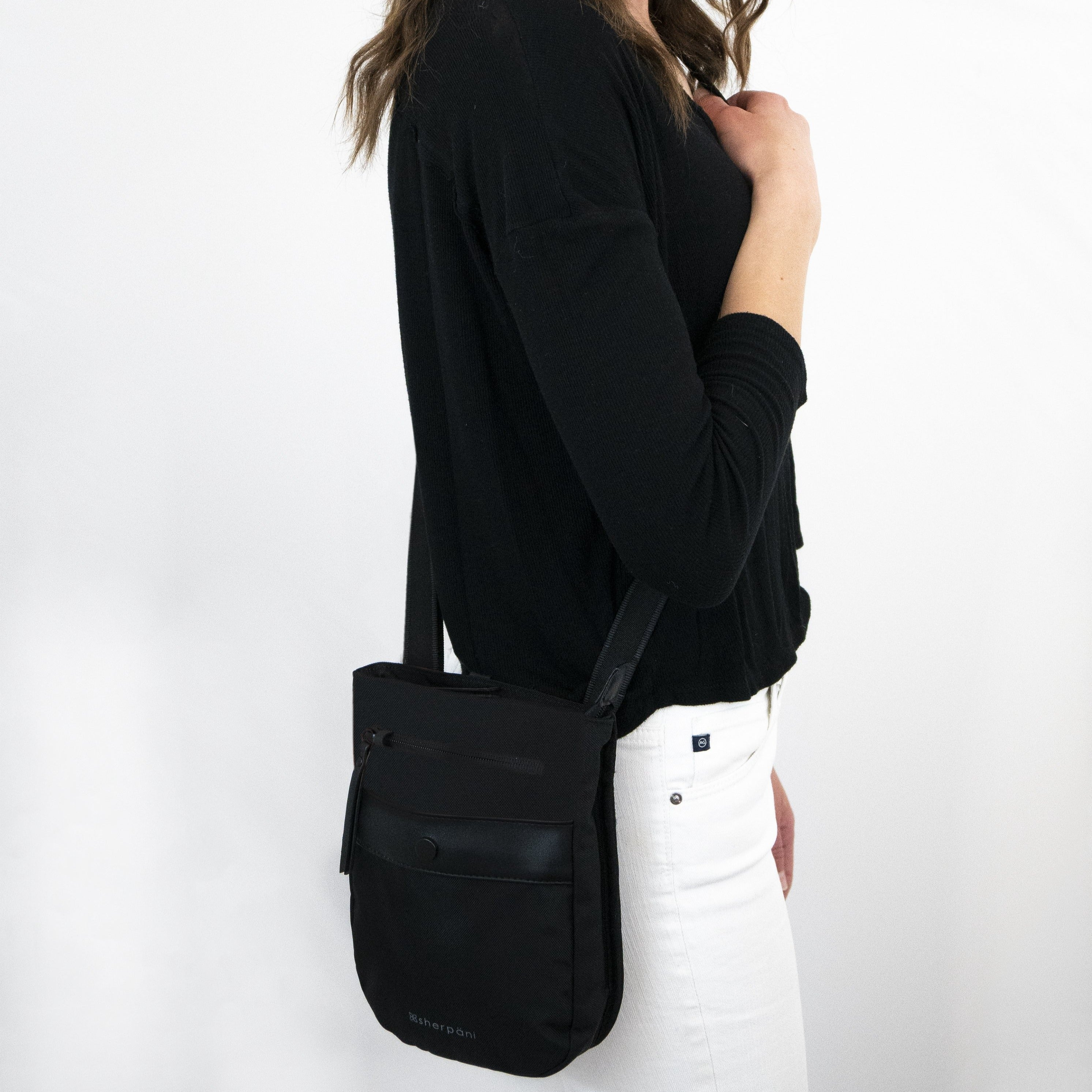 Black Anti-theft Crossbody (worn as crossbody) with anti-theft features