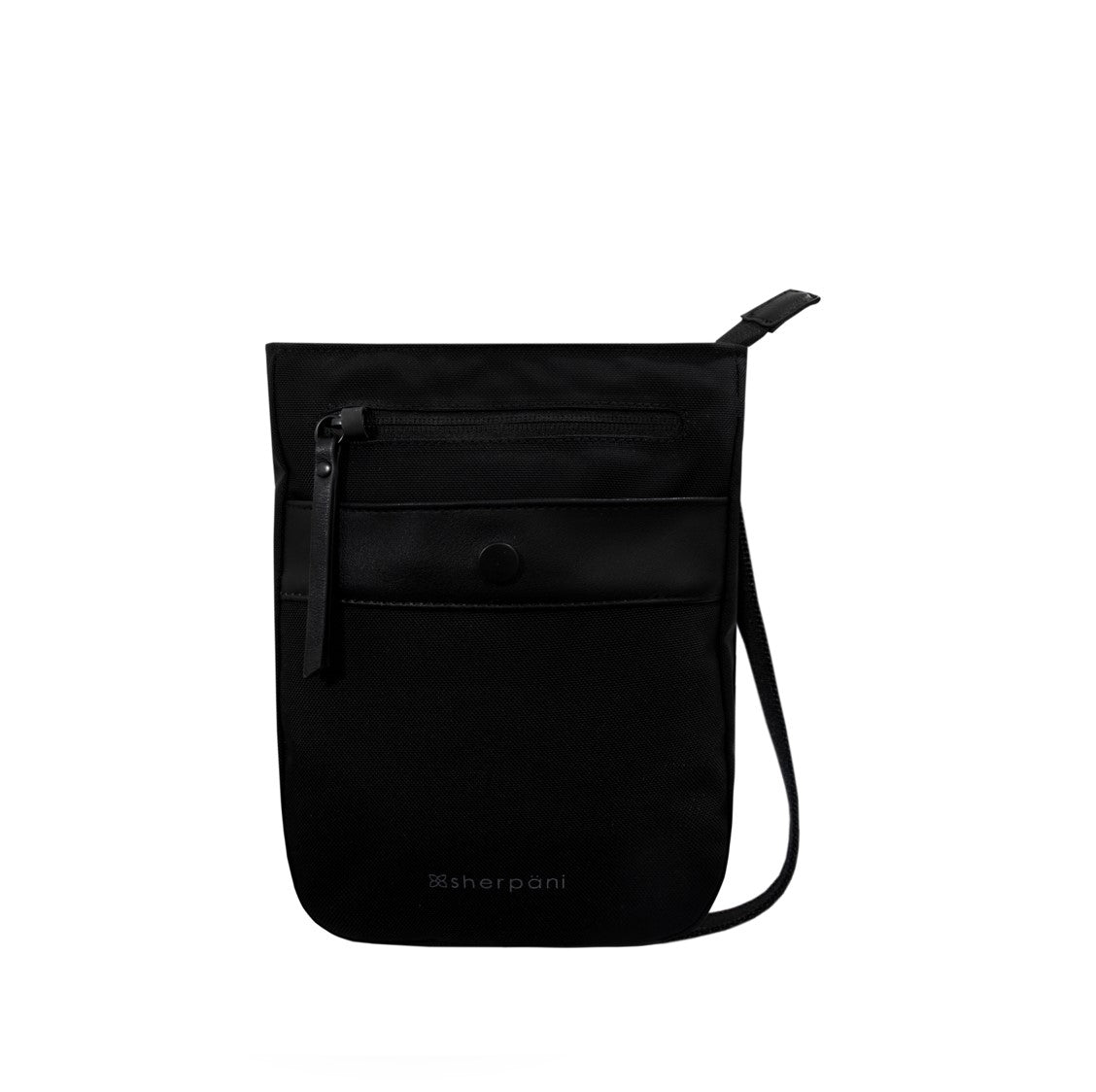 Black Anti-theft Crossbody (front view) with anti-theft features