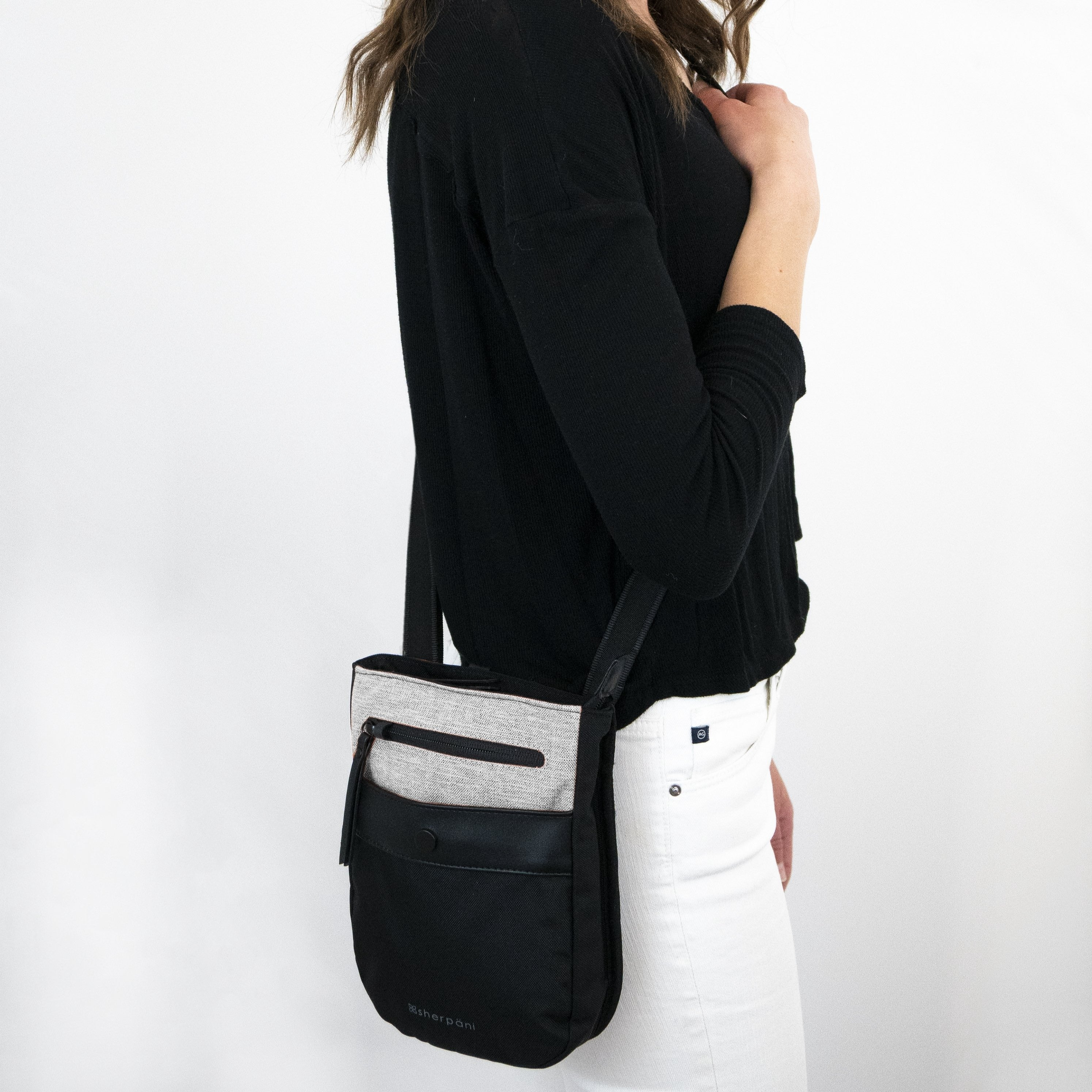 White Anti-theft Crossbody (worn as crossbody) with anti-theft features