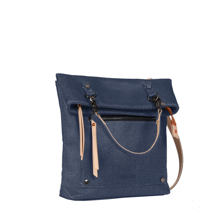 Sherpani Rebel, Everywhere Slim Crossbody Bag, Fashion Handbag, Designer Tote Bag for Women, made from Hand-Painted Canvas (Indigo)