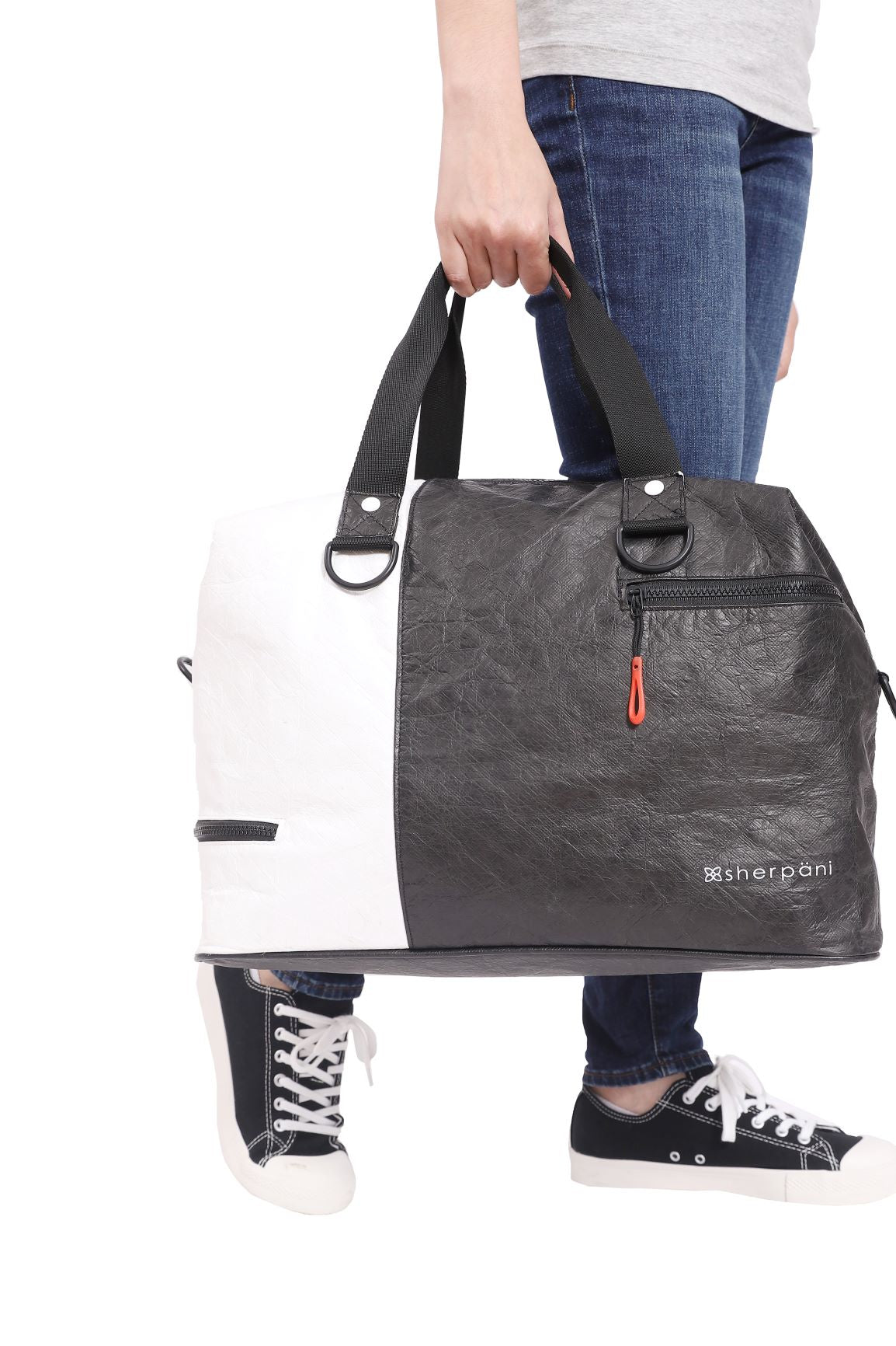Black & White Duffle bag and Gym bag (as duffle bag) made with tyvek fabric