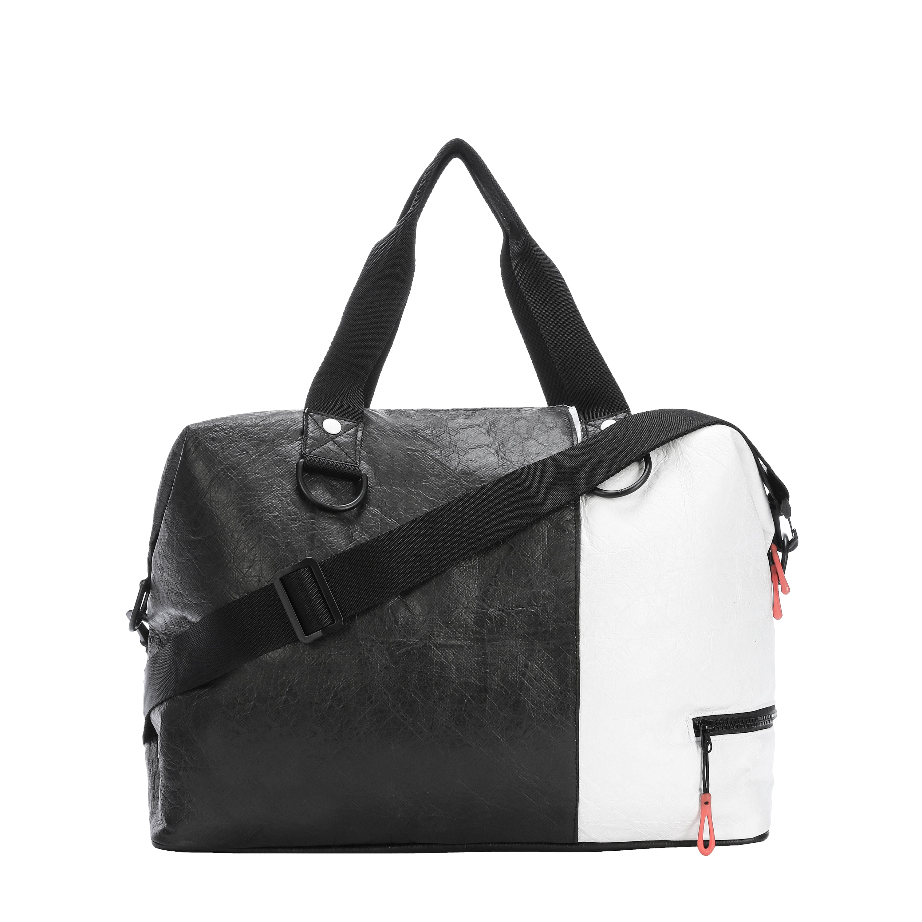 Black & White Duffle bag and Gym bag (back view) made with tyvek fabric