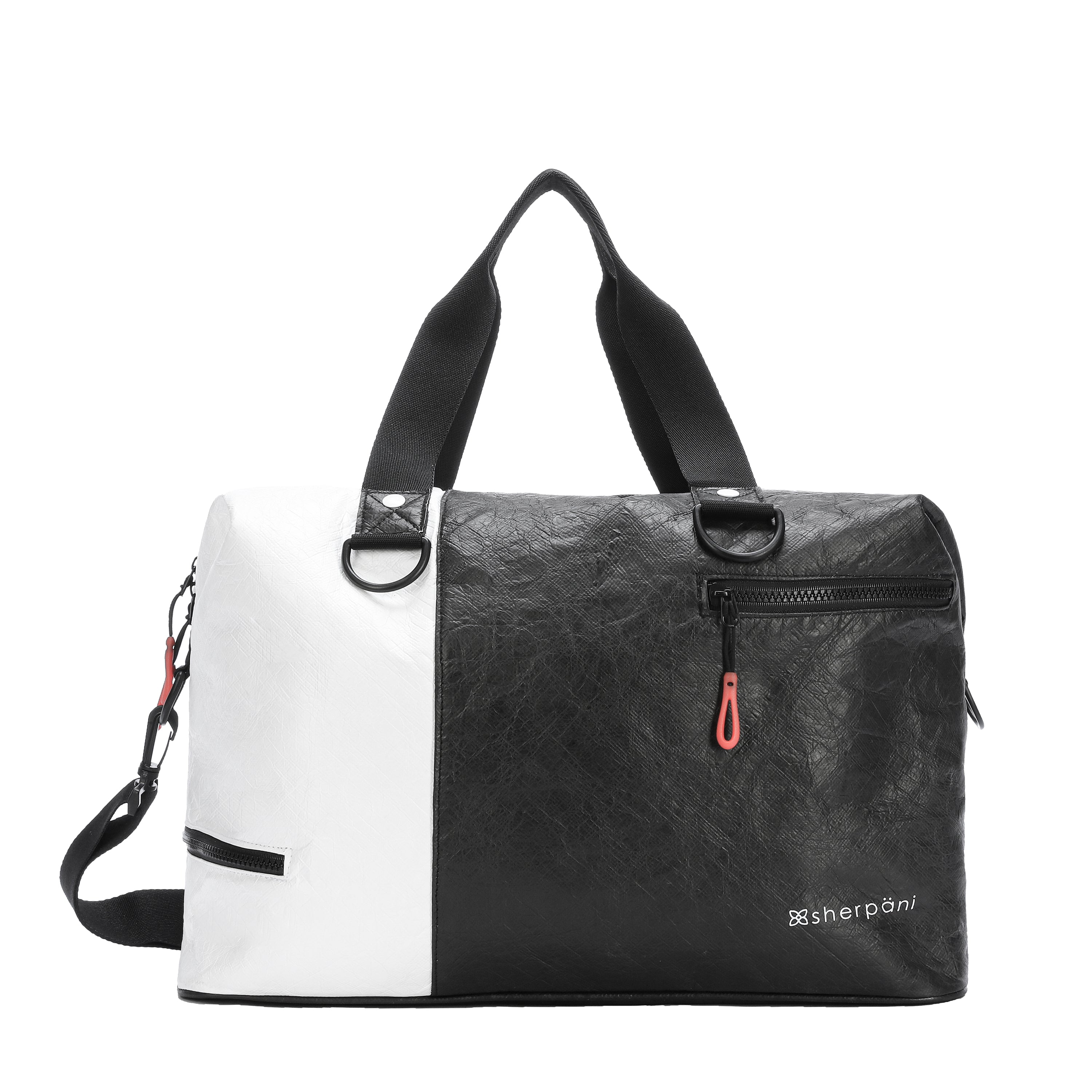 Black & White Duffle bag and Gym bag (front view) made with tyvek fabric