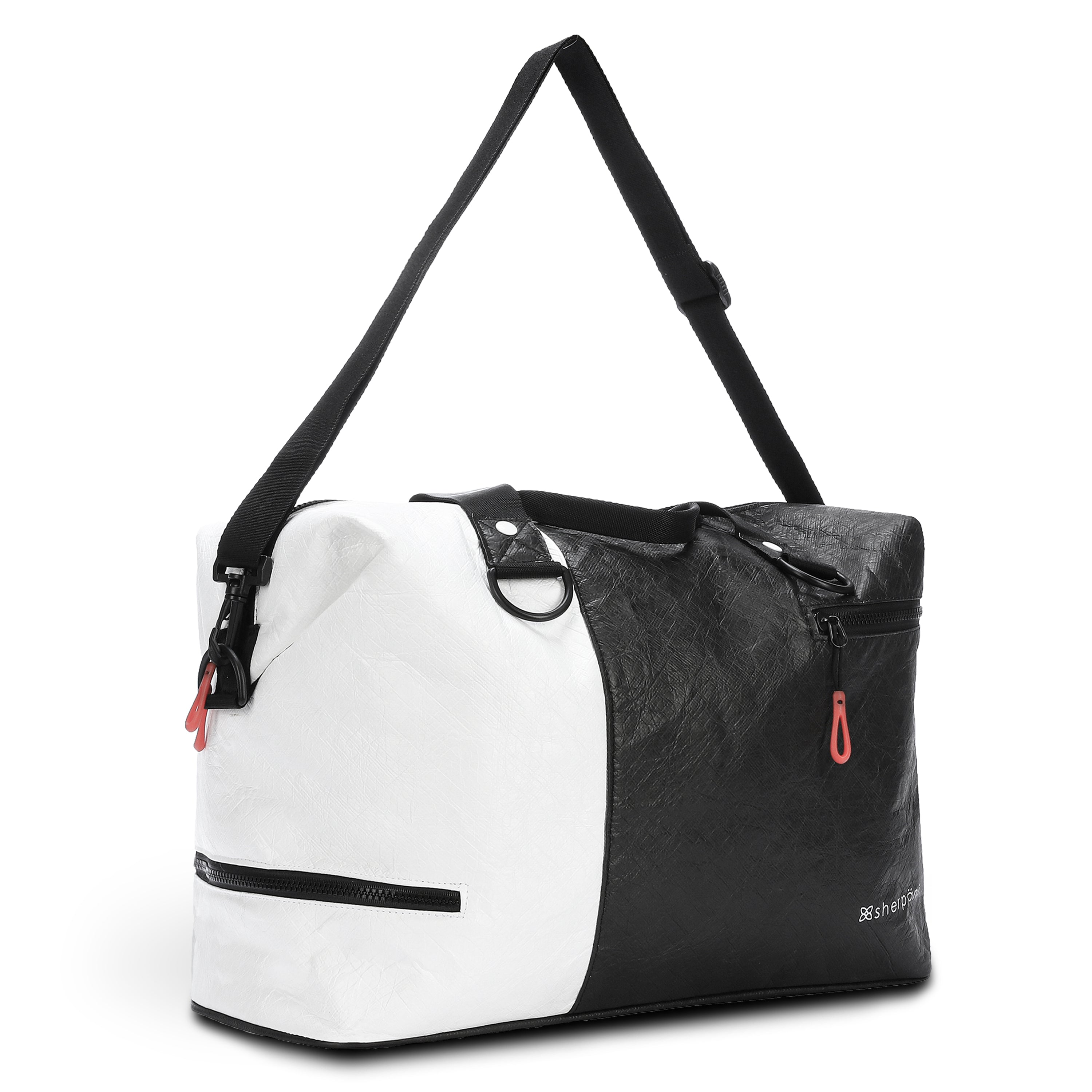 Black & White Duffle bag and Gym bag (3/4 Side) made with tyvek fabric