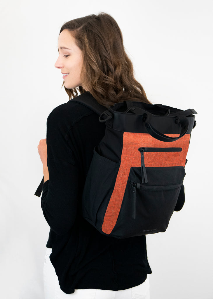 Soleil AT (Backpack, on model) in Anti-Theft Collection (Copper)