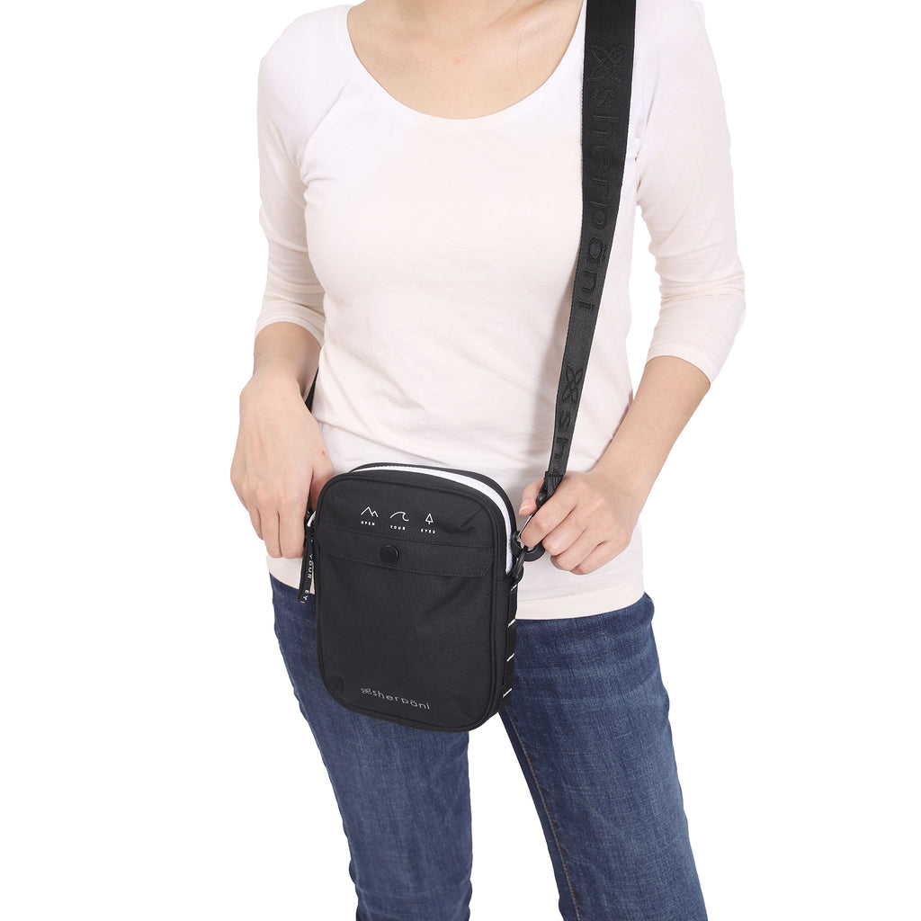 Black Mini Crossbody (as shoulder bag) made with recycled materials