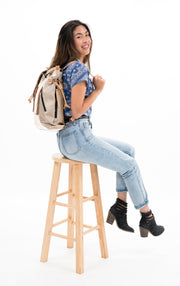Sherpani Tempest, Fashion Tote Bag, Work Backpack for Women, with 15 Inch Laptop Compatible, made from Hand-Painted Canvas (Natural)