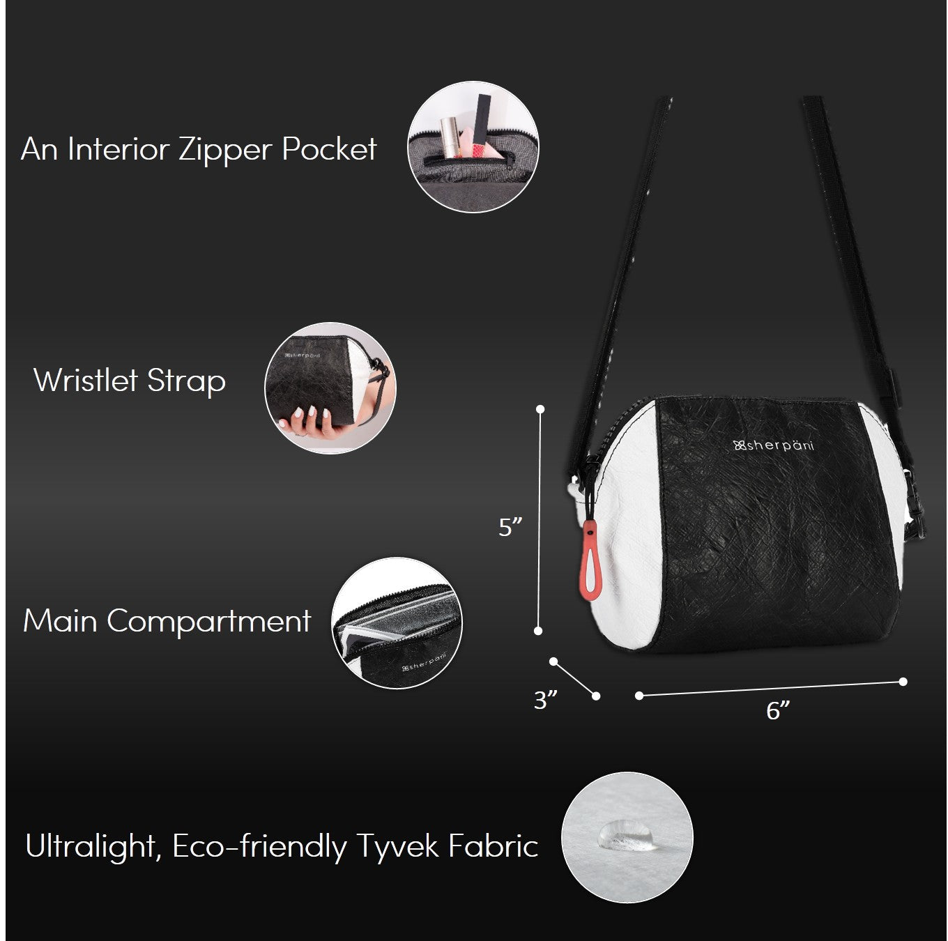 Black & White Backpack  (dimensions and features made with tyvek fabric