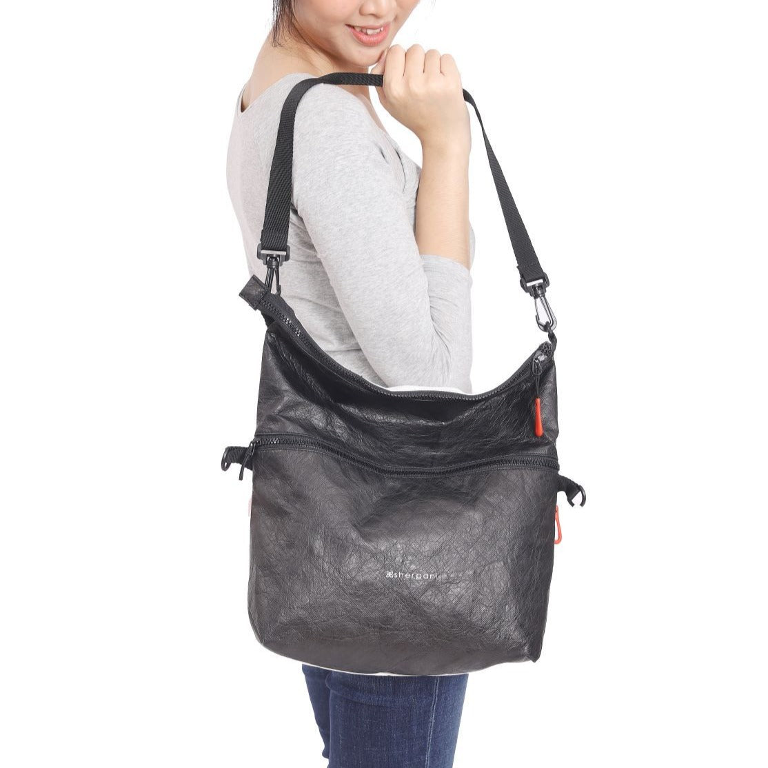Black & White Reversible Crossbody bag (as shouler bag) made with tyvek fabric