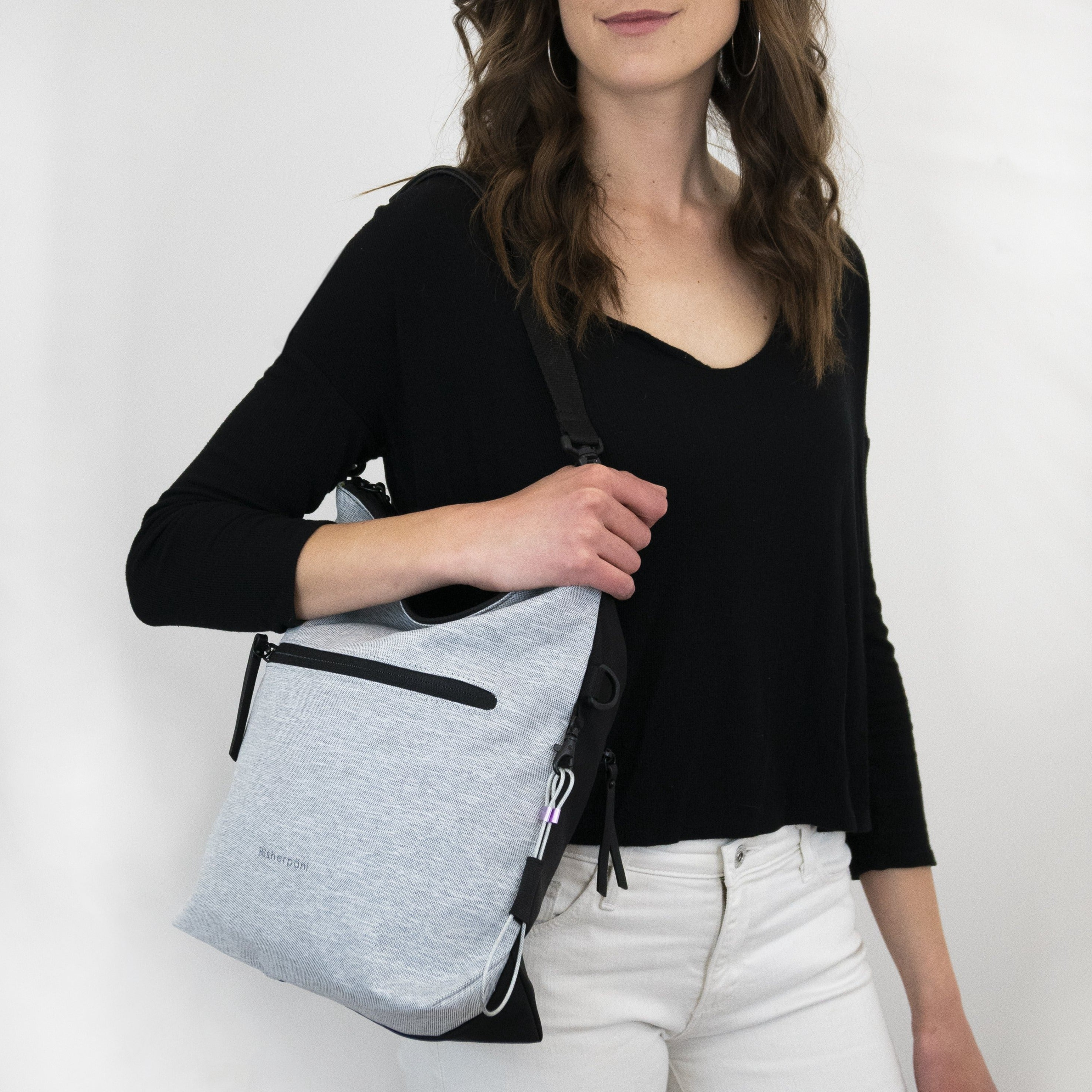 White Anti Theft Reversible Crossbody (worn as shoulder bag) with anti-theft features