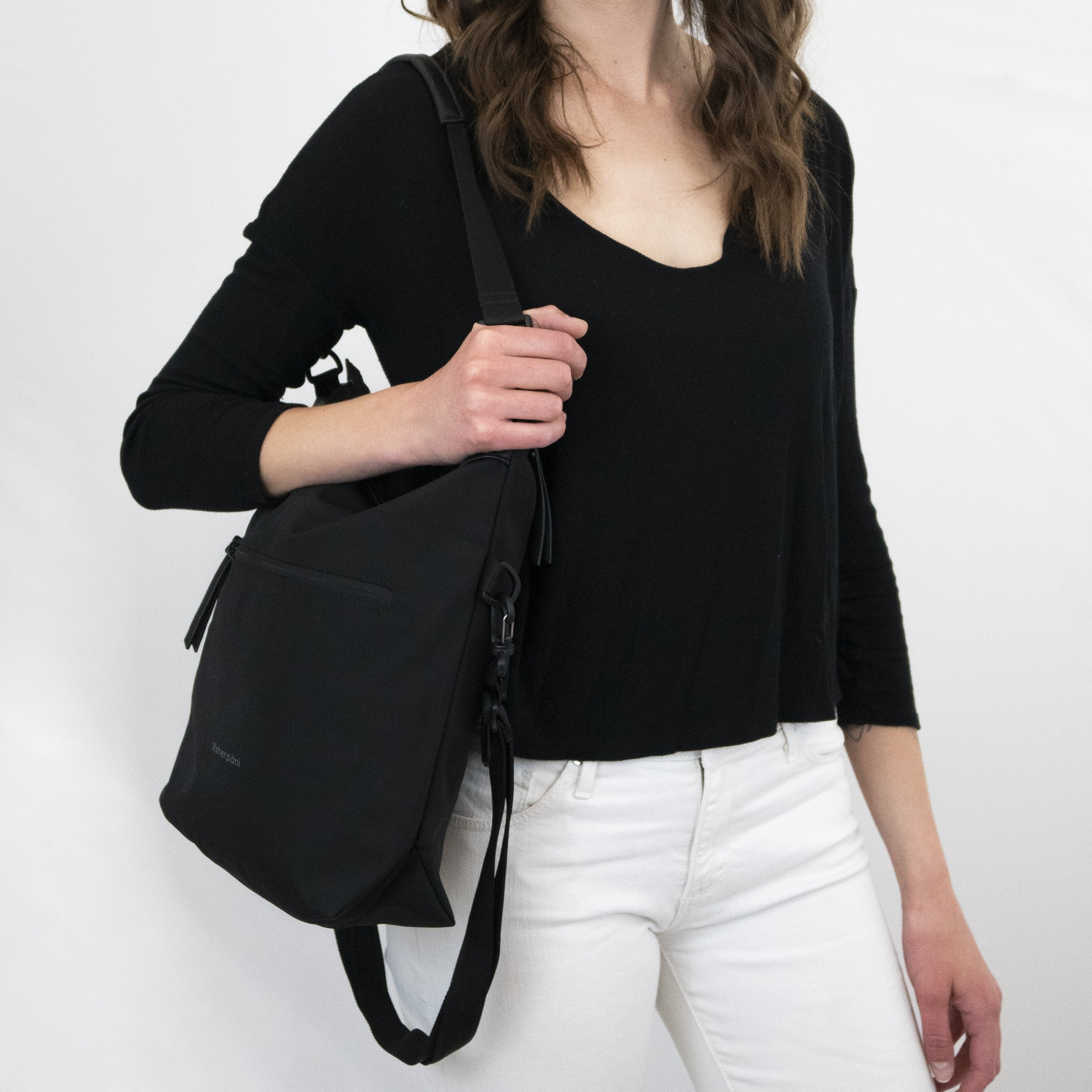 Black Anti Theft Reversible Crossbody (worn as shoulder purse) with anti-theft features