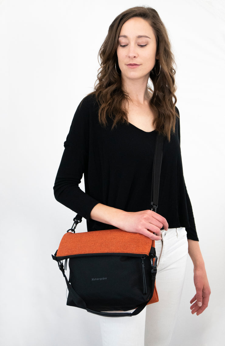 Sherpani Vale, Anti Theft Travel Crossbody Bag, Tote Bag and Shoulder Bag for Women, with RFID Blocking Sleeve (Copper).