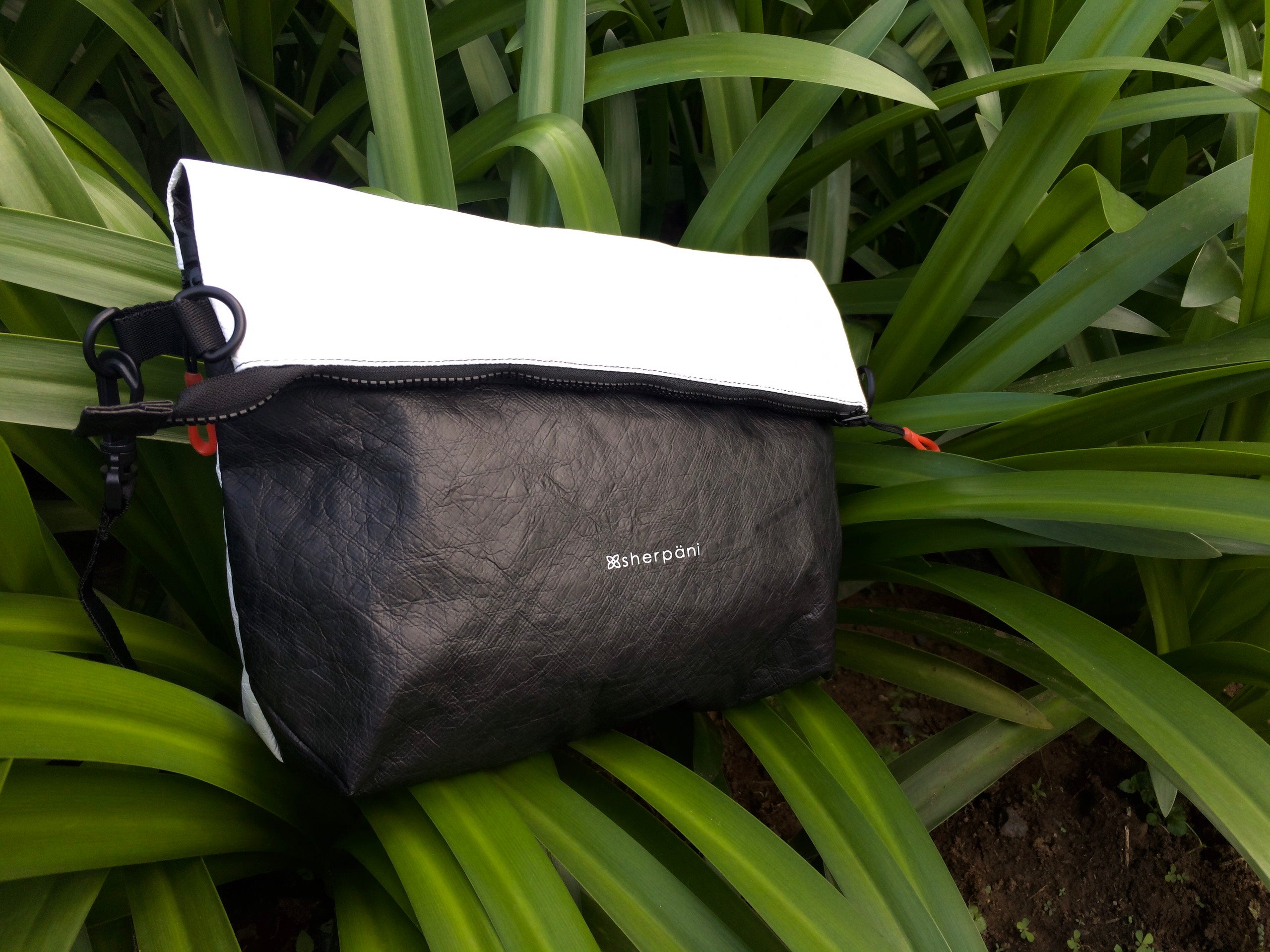 Black & White Reversible Crossbody bag  made with tyvek fabric