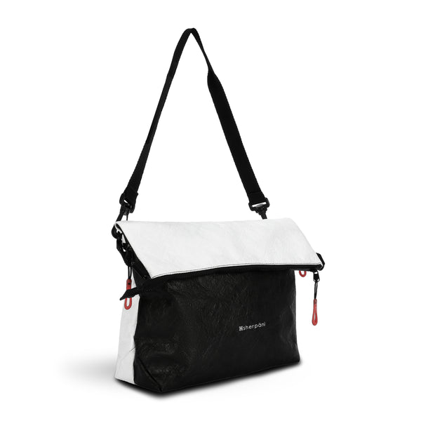 Black & White Reversible Crossbody bag (3/4 Side) made with tyvek fabric