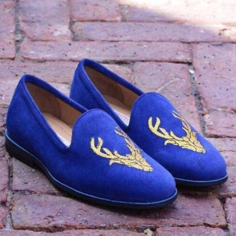 Embroidered Stag Slipper In Blue