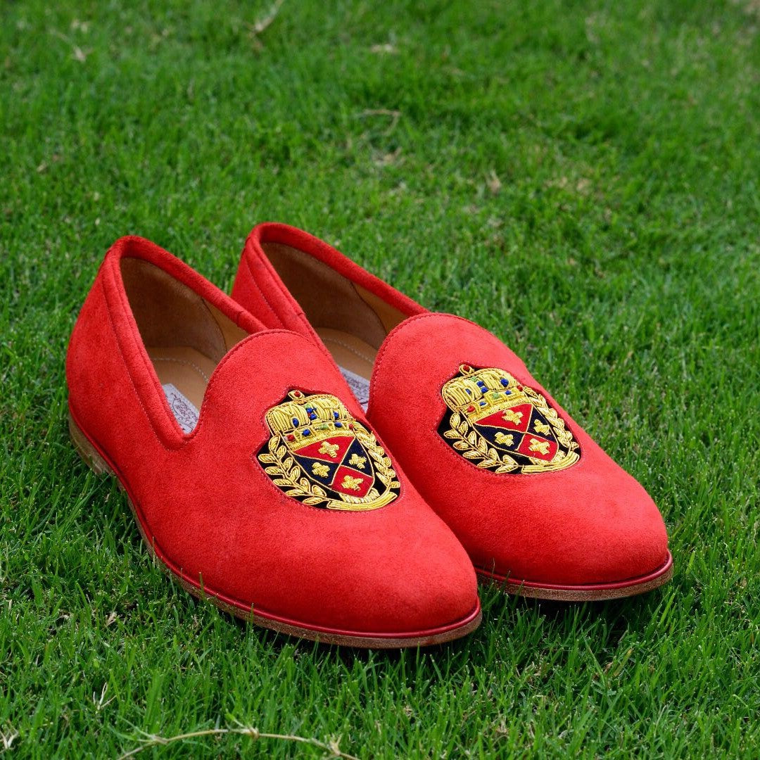 Embroidered Slipper In Red