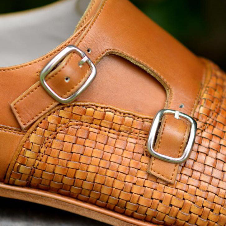 Woven Leather Double Monkstrap A6
