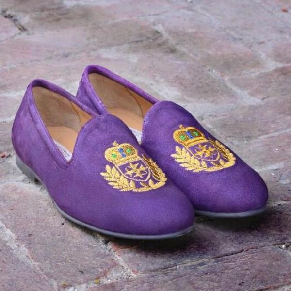 Embroidered Motif Slipper In Purple