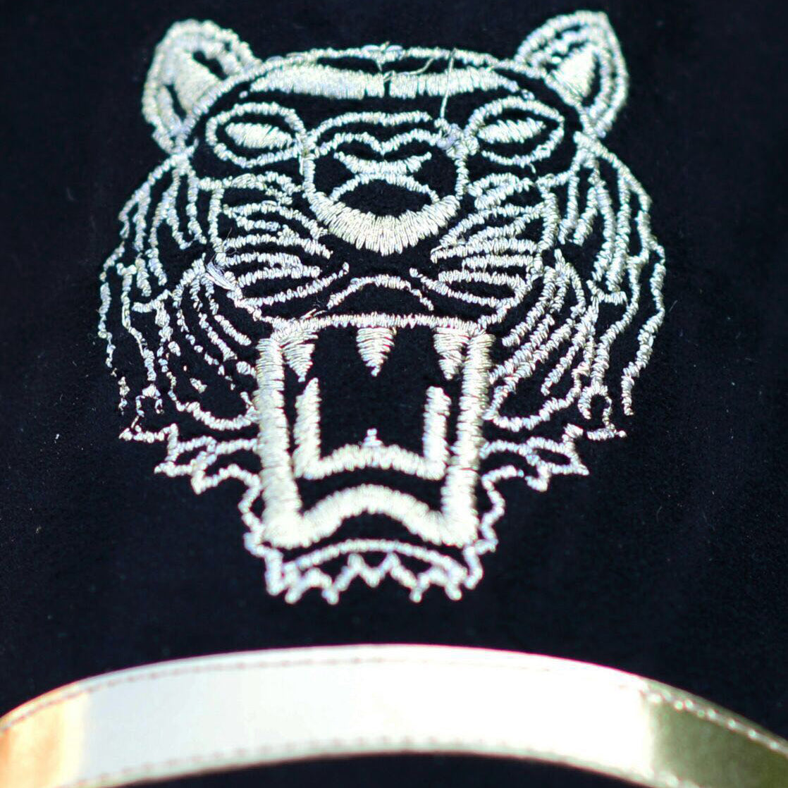 Embroidered Tiger With Gold Band in Black