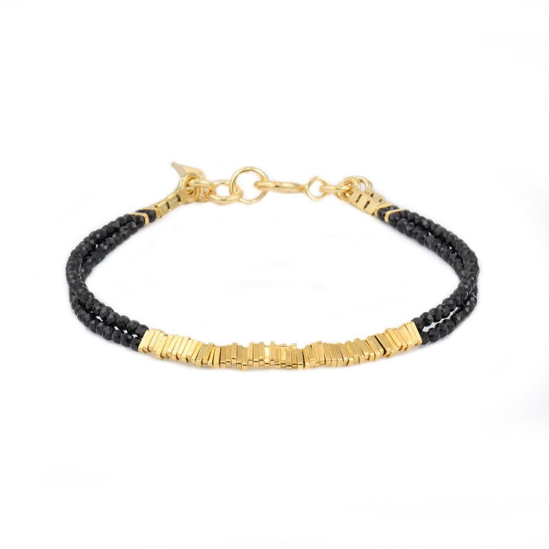 2 lines spinal stripes bracelet gold plated - Goldy jewelry store