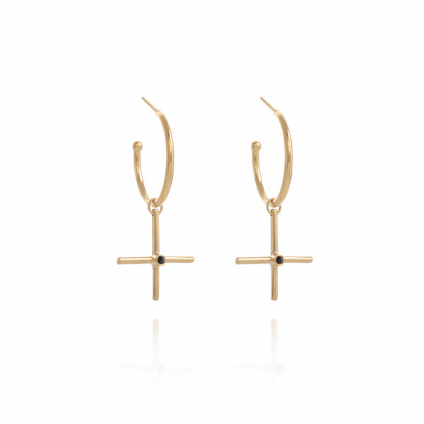 XL Gold plated Gipsy Plus  Earring - Goldy jewelry store