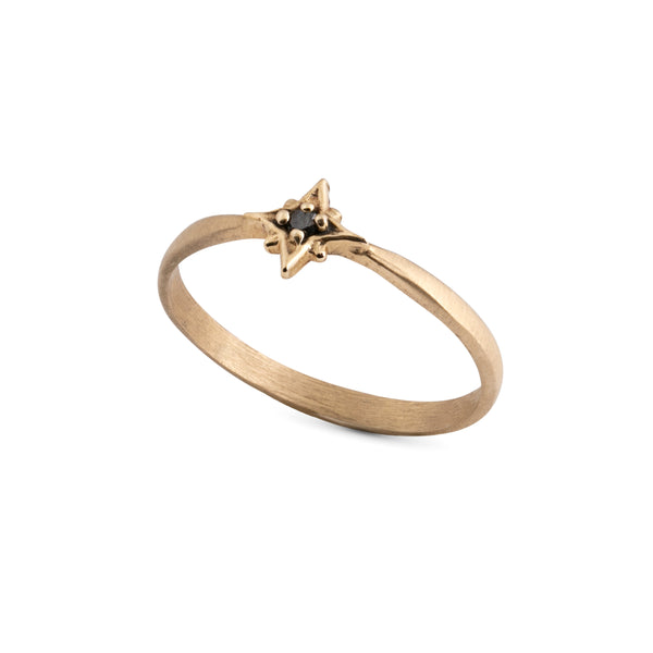 14k gold star ring with black diamond - Goldy jewelry store